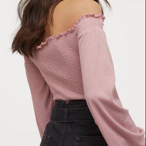 Smocked crop top long sleeves